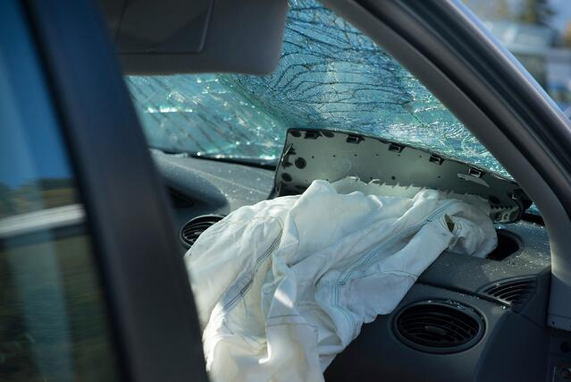 Airbag deployed on a vehicle in a crash in El Jobean, Florida