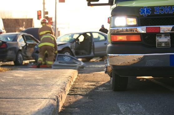 Ambulance at Car Accident Scene in Greensboro